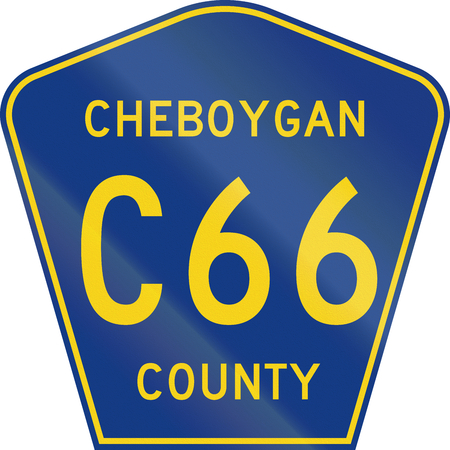 county: Michigan county-designated highway shield - Cheboygan County. Stock Photo