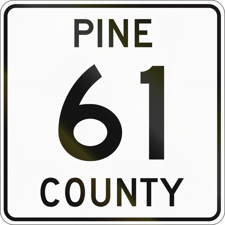 county: County Route marker for Pine County in Minnesota, US.