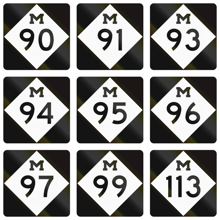 99: Collection of Michigan Route shields used in the United States.