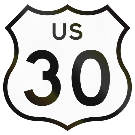 historic: Historic Highway Route shield from 1961 used in the US. Stock Photo