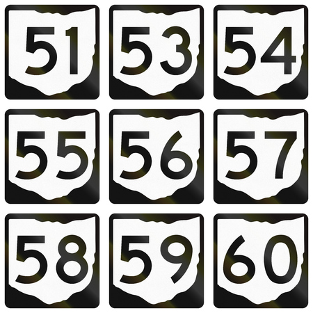 57: Collection of Ohio Route shields used in the United States.