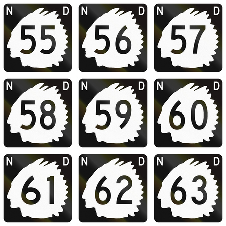 57: Collection of North Dakota Route shields used in the United States.