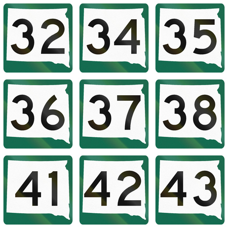 34: Collection of South Dakota Route shields used in the United States.