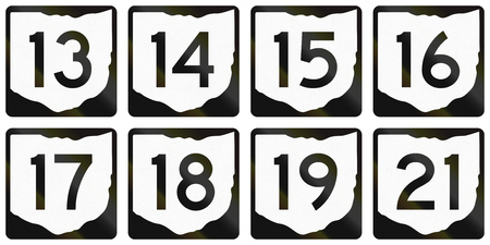 number 15: Collection of Ohio Route shields used in the United States.