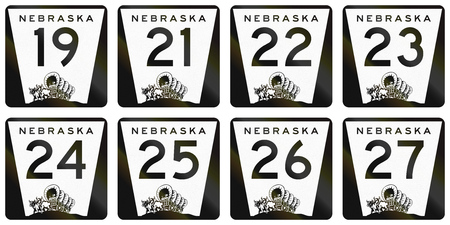 24 26: Collection of Nebraska Route shields used in the United States.