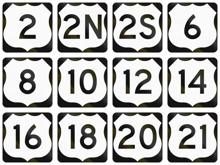 number twelve: Collection of general United States Route shields.