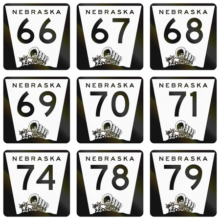 keystone: Collection of Nebraska Route shields used in the United States.