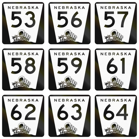 57: Collection of Nebraska Route shields used in the United States.