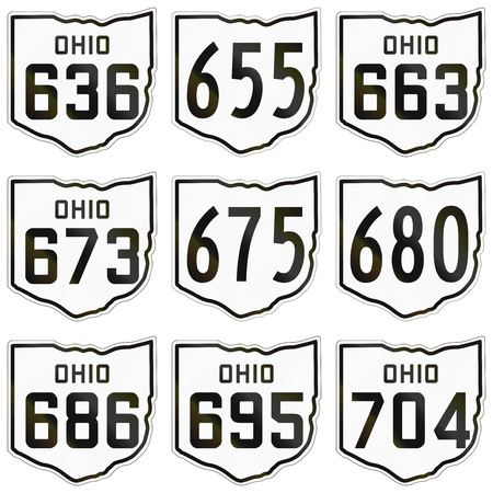 historic: Collection of historic Ohio Route shields used in the United States.