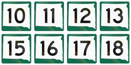 12 13: Collection of South Dakota Route shields used in the United States.