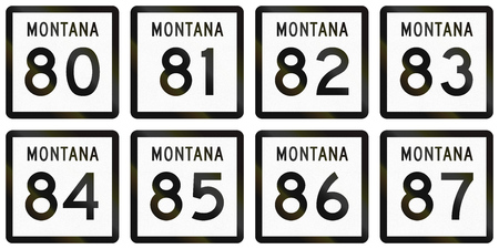 80 85: Collection of Montana Route shields used in the United States.
