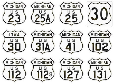 historic: Collection of Historic State Route shields used in the USA. Stock Photo