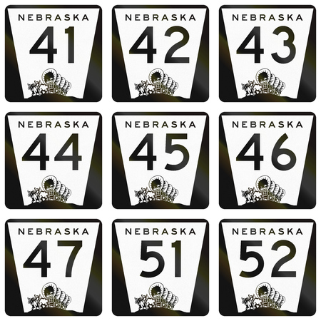 settler: Collection of Nebraska Route shields used in the United States.