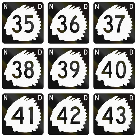 number 36: Collection of North Dakota Route shields used in the United States.