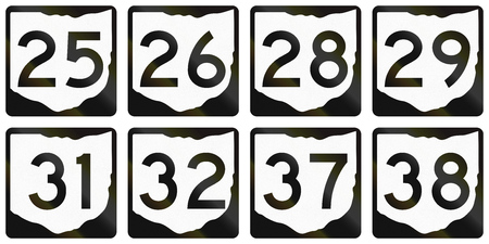 25 29: Collection of Ohio Route shields used in the United States.