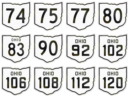 75 80: Collection of historic Ohio Route shields used in the United States.