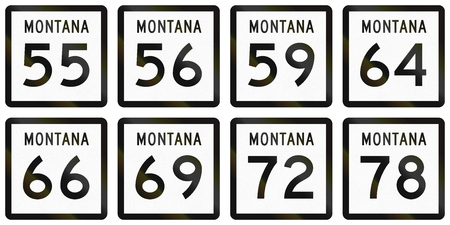quadratic: Collection of Montana Route shields used in the United States.