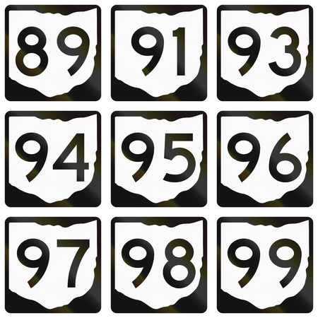 99: Collection of Ohio Route shields used in the United States.
