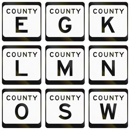 s and m: Collection of County Route shields in the US state Wisconsin. Stock Photo