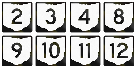 number 11: Collection of Ohio Route shields used in the United States.