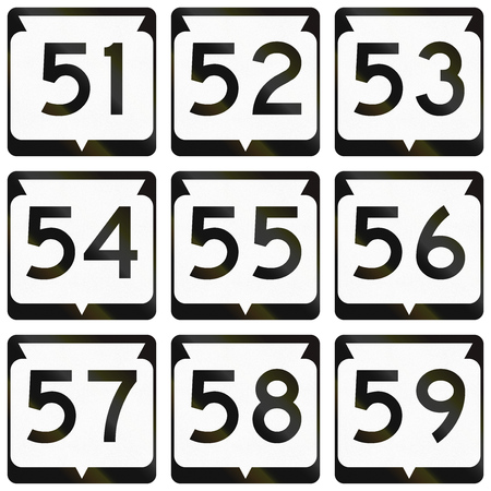 57: Collection of Wisconsin Route shields used in the USA.