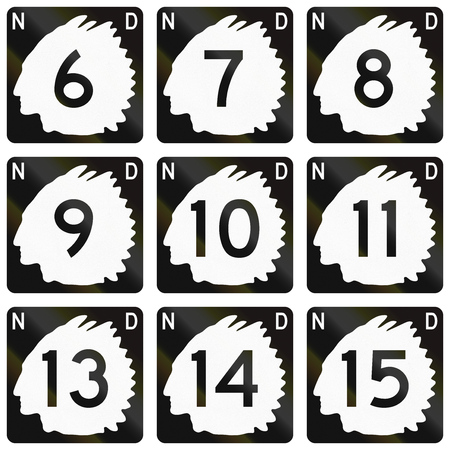 sioux: Collection of North Dakota Route shields used in the United States.