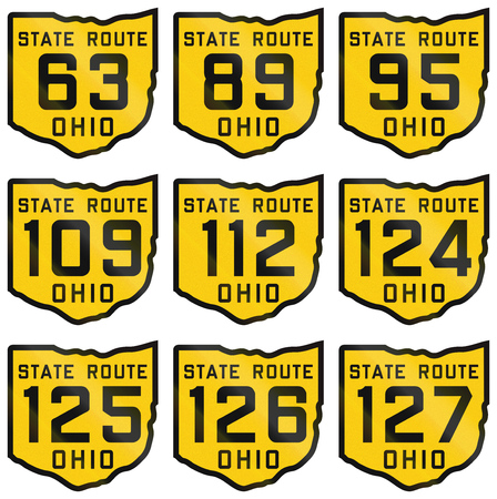 historic: Collection of historic Ohio Route shields from 1920 used in the United States.