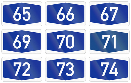 numbered: Collection of Numbered highway shields of German Autobahn system.