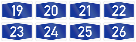 multiple lane highway: Collection of Numbered highway shields of German Autobahn system.