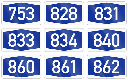Collection of Numbered highway shields of German Autobahn system.