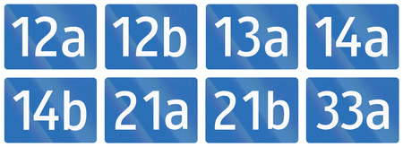 number 12: Collection of Signs of Bundesstrassen (Federal Roads) in Austria.