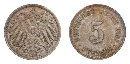 Reich: Five Pfennig coin formerly used in the German Reich.