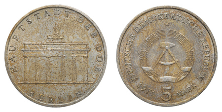 gdr: Commemorative coin of the German Democratic Republic with inscription - Capitol of GDR - Berlin.