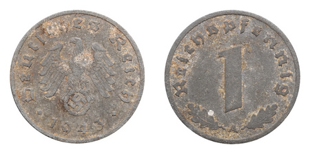 One Reichspfennig coin formerly used in Nazi Germany.