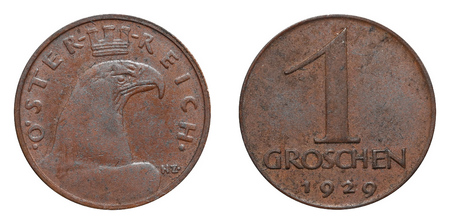 embossment: One Groschen coin formerly used in Austria. Stock Photo
