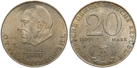 otto: Commemorative coin of the German Democratic Republic with portrait of Otto Grotewohl. Stock Photo