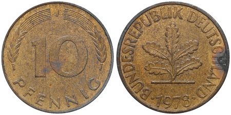 embossment: Ten Pfennig coin formerly used in Germany.