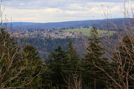 outlook: Outlook to the town of Rotensol, Black Forest, Baden-Wurttemberg, Germany. Stock Photo