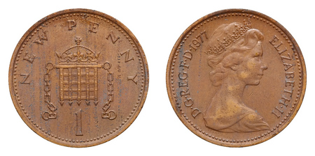 great britain: One Penny coin used in Great Britain.