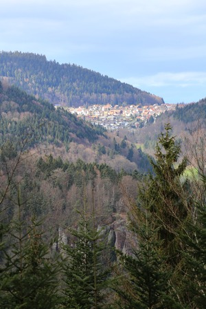 outlook: Outlook to the town of Bernbach, Black Forest, Baden-Wurttemberg, Germany.