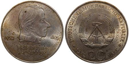 commemorative: Commemorative coin of the German Democratic Republic with portrait of Friedrich v. Schiller.