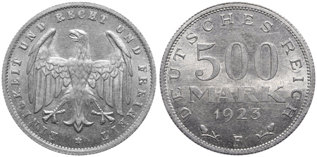 Reich: 500 Mark coin formerly used in the German Reich. Stock Photo