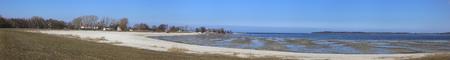 greifswald: Panoramic view of beach in Eldena, Greifswald, Mecklenburg-Vorpommern, Germany. The tide is low.