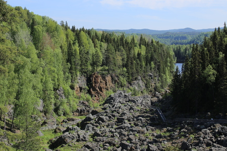 outlook: Outlook over Doeda Fallet, the dead fall, in Sweden. Stock Photo