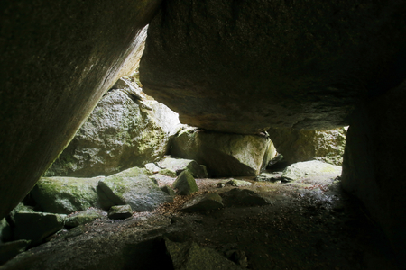 hdri: HDR image of cave under a big rock in Sweden.