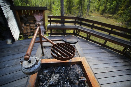 mire: Cooking pit at resting place in Vackermyren, the beautiful mire, in Sweden.