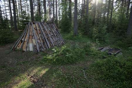 stone fireplace: Stone age tent and fireplace in Naesaaker in Sweden.