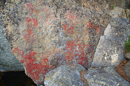 paleolithic: Weathered paleolithic rock paintings at Faangsjoen in Sweden.