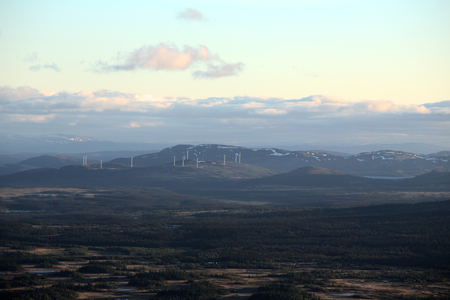 Far view on wind power stations near Bakvattnet, Sweden.