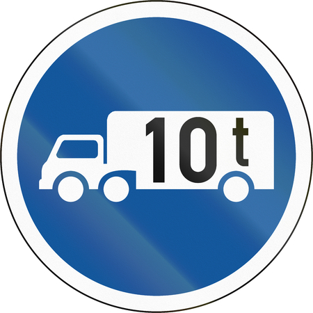 tonnes: Road sign used in the African country of Botswana - Goods vehicles exceeding 10 tonnes. Stock Photo